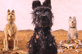 """(From L-R): Edward Norton as """"Rex,"""" Bryan Cranston as """"Chief,"""" Jeff Goldblum as """"Duke,"""" Bob Balaban as """"King"""" and Bill Murray as """"Boss"""" and in the film ISLE OF DOGS. Photo Courtesy of Fox Searchlight Pictures. © 2018 Twentieth Century Fox Film Corporation All Rights Reserved"""