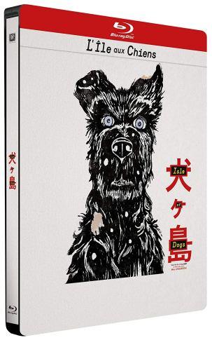 """Visuel de l'édition limitée en boîtier métal SteelBook de """"L'ile aux chiens""""."""