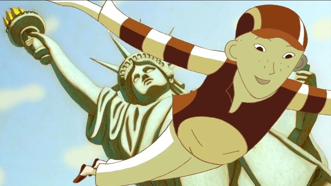 Phantom Boy Léo vole près de la statue de la Liberté