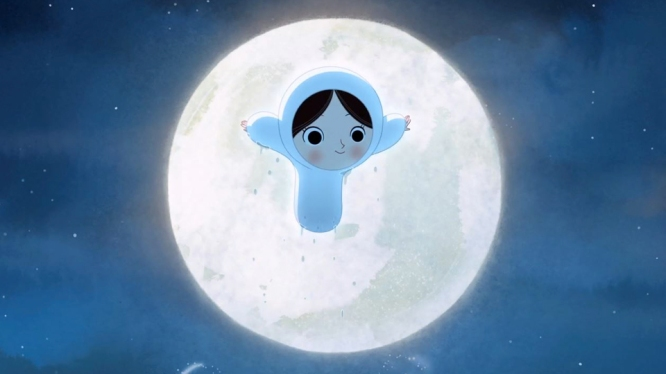 Maïna devant la lune Le chant de la mer