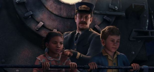 Le conducteur du Pôle Express et les enfants