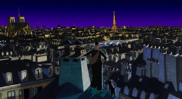 Nico et le chat sur les toits de Paris dans Une vie de chat